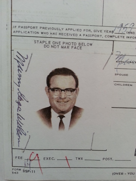 Murry Wilson passport photo. Murry's passport application to travel abroad to Sweden, in part, was signed November 21, 1962